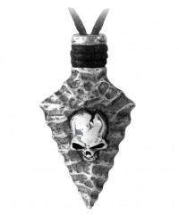Capitaneus Pewter Skull Arrowhead Necklace Mystic Convergence Metaphysical Supplies Metaphysical Supplies, Pagan Jewelry, Witchcraft Supply, New Age Spiritual Store