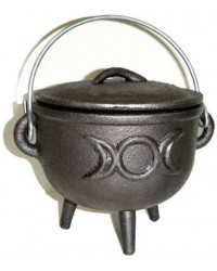 Triple Moon Cast Iron 4.5 Inch Witches Cauldron Mystic Convergence Metaphysical Supplies Metaphysical Supplies, Pagan Jewelry, Witchcraft Supply, New Age Spiritual Store