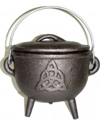 Triquetra Cast Iron 4.5 Inch Witches Cauldron Mystic Convergence Metaphysical Supplies Metaphysical Supplies, Pagan Jewelry, Witchcraft Supply, New Age Spiritual Store