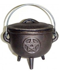 Pentacle Cast Iron 4.5 Inch Witches Cauldron Mystic Convergence Metaphysical Supplies Metaphysical Supplies, Pagan Jewelry, Witchcraft Supply, New Age Spiritual Store
