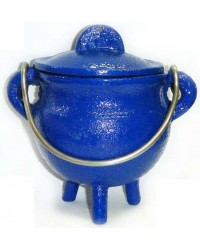 Blue Cast Iron Mini Cauldron with Lid Mystic Convergence Metaphysical Supplies Metaphysical Supplies, Pagan Jewelry, Witchcraft Supply, New Age Spiritual Store