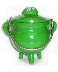 Green Cast Iron Mini Cauldron with Lid Mystic Convergence Metaphysical Supplies Metaphysical Supplies, Pagan Jewelry, Witchcraft Supply, New Age Spiritual Store