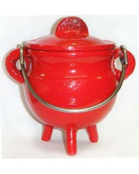 Red Cast Iron Mini Cauldron with Lid Mystic Convergence Metaphysical Supplies Metaphysical Supplies, Pagan Jewelry, Witchcraft Supply, New Age Spiritual Store