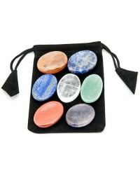 7 Chakra Worry Stone Set in Velvet Pouch Mystic Convergence Metaphysical Supplies Metaphysical Supplies, Pagan Jewelry, Witchcraft Supply, New Age Spiritual Store
