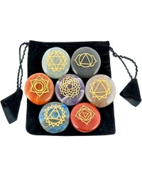 7 Carved Chakra Gem Stones in Velvet Pouch Mystic Convergence Metaphysical Supplies Metaphysical Supplies, Pagan Jewelry, Witchcraft Supply, New Age Spiritual Store