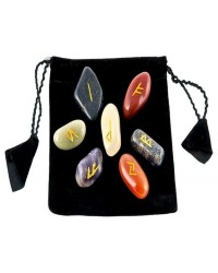 7 Chakra Rune Tumbled Stone Set in Velvet Pouch Mystic Convergence Metaphysical Supplies Metaphysical Supplies, Pagan Jewelry, Witchcraft Supply, New Age Spiritual Store
