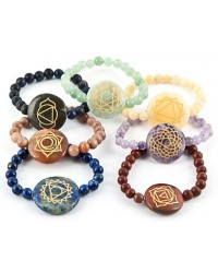 7 Carved Chakra Gemstone Bracelets Mystic Convergence Metaphysical Supplies Metaphysical Supplies, Pagan Jewelry, Witchcraft Supply, New Age Spiritual Store