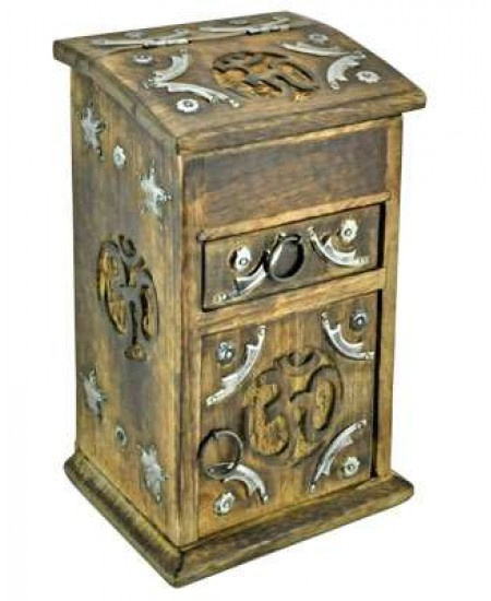 Om Carved Wooden Storage Chest at Mystic Convergence Metaphysical Supplies, Metaphysical Supplies, Pagan Jewelry, Witchcraft Supply, New Age Spiritual Store