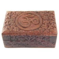 Om Symbol Floral Carved Wood Box - 6 Inches
