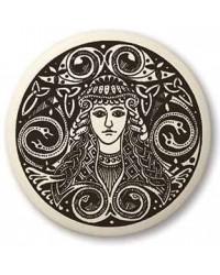 Brigantia Celtic Goddess Porcelain Round Necklace Mystic Convergence Metaphysical Supplies Metaphysical Supplies, Pagan Jewelry, Witchcraft Supply, New Age Spiritual Store