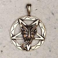 Baphomet Inverted Pentagram Bronze Necklace