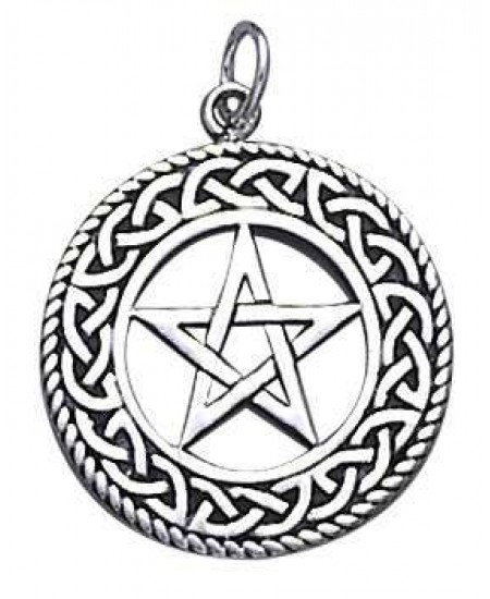 Celtic Border Pentacle Sterling Silver Pendant at Mystic Convergence Metaphysical Supplies, Metaphysical Supplies, Pagan Jewelry, Witchcraft Supply, New Age Spiritual Store