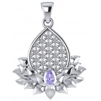 Lotus Flower of Life Amethyst Pendant