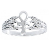 Egyptian Ankh Snake Silver Ring