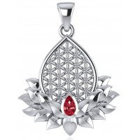 Lotus Flower of Life Garnet Pendant