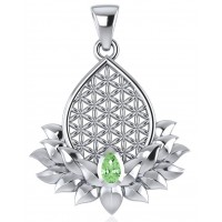 Lotus Flower of Life Peridot Pendant