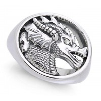 King Arthur Pendragon Seal White Zirconium Ring