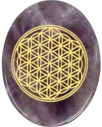 Amethyst Flower of Life Worry Stone Mystic Convergence Metaphysical Supplies Metaphysical Supplies, Pagan Jewelry, Witchcraft Supply, New Age Spiritual Store