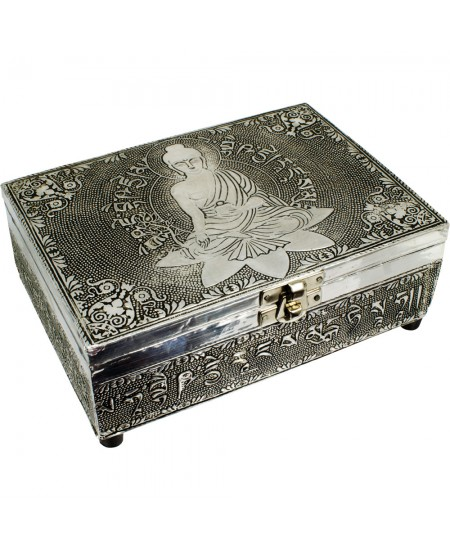 Medicine Buddha Embossed Metal Box at Mystic Convergence Metaphysical Supplies, Metaphysical Supplies, Pagan Jewelry, Witchcraft Supply, New Age Spiritual Store