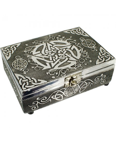Pentacle Embossed Metal Box at Mystic Convergence Metaphysical Supplies, Metaphysical Supplies, Pagan Jewelry, Witchcraft Supply, New Age Spiritual Store