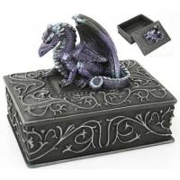 Purple Dragon Square Trinket Box