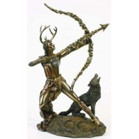 Diana Artemis Greek Goddess of the Hunt Statue with Wolf
