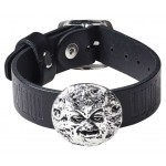 Man in the Moon Gothic Leather Strap Bracelet