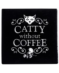 Catty Without Coffee Ceramic Coaster Mystic Convergence Metaphysical Supplies Metaphysical Supplies, Pagan Jewelry, Witchcraft Supply, New Age Spiritual Store