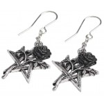 Ruah Vered Pentacle Rose Gothic Earrings at Mystic Convergence, Wiccan Supplies, Pagan Jewelry, Witchcraft Supplies, New Age Store