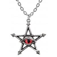 Red Curse Pentagram Eye Pewter Necklace