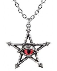 Red Curse Pentagram Eye Pewter Necklace