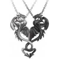 Draconic Tryst Double Dragon Gothic Friendship Necklace