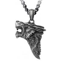 Dark Wolf Pendant with Chain