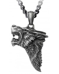 Dark Wolf Pendant with Chain