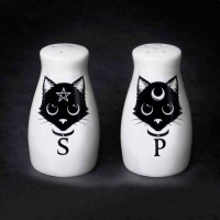Witches Familiar Black Cat Salt & Pepper Shaker Set