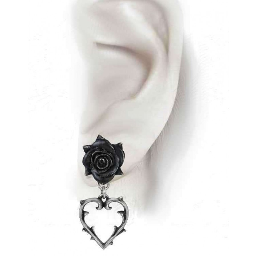 Wounded love black rose heart drop earrings gothic jewelry black wounded love black rose heart gothic earrings at mystic convergence wiccan supplies pagan jewelry aloadofball Images