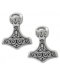 Thor Hammer Pewter Earrings Mystic Convergence Wiccan Supplies, Pagan Jewelry, Witchcraft Supplies, New Age Store