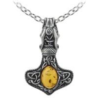 Amber Dragon Thorhammer Pewter Pendant