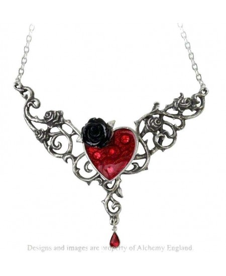 The Blood Rose Heart Pewter Necklace at Mystic Convergence Metaphysical Supplies, Metaphysical Supplies, Pagan Jewelry, Witchcraft Supply, New Age Spiritual Store