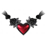 Blood Heart Black Rose Heart Pewter Necklace