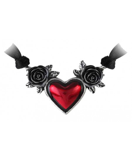 Blood Heart Black Rose Heart Pewter Necklace at Mystic Convergence Metaphysical Supplies, Metaphysical Supplies, Pagan Jewelry, Witchcraft Supply, New Age Spiritual Store
