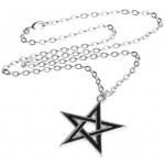 Black Star Pentagram Pendant with Chain