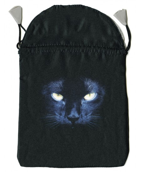 Black Cat Satin Tarot Bag at Mystic Convergence Metaphysical Supplies, Metaphysical Supplies, Pagan Jewelry, Witchcraft Supply, New Age Spiritual Store
