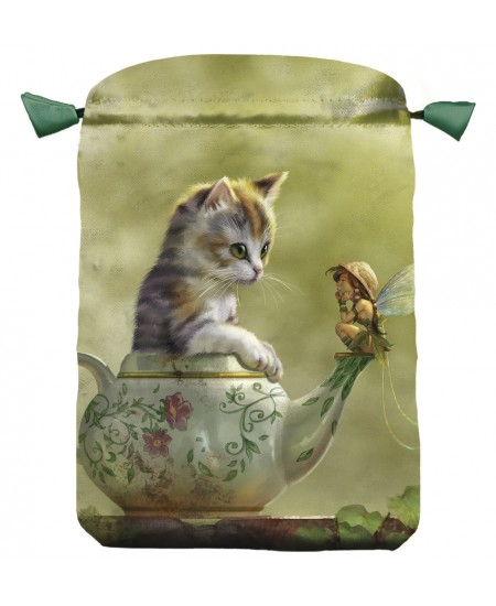 Fantasy Cat Satin Bag at Mystic Convergence Metaphysical Supplies, Metaphysical Supplies, Pagan Jewelry, Witchcraft Supply, New Age Spiritual Store