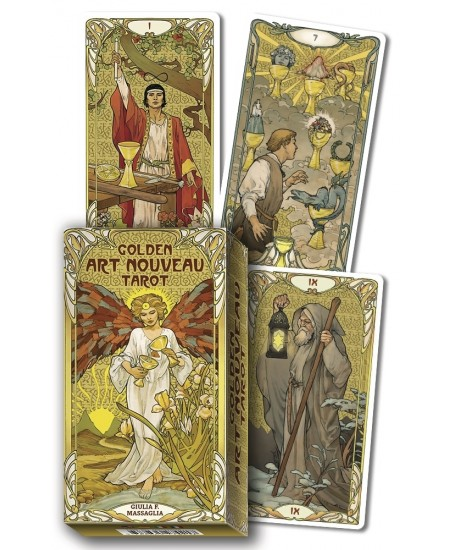 Golden Art Nouveau Tarot Cards at Mystic Convergence Metaphysical Supplies, Metaphysical Supplies, Pagan Jewelry, Witchcraft Supply, New Age Spiritual Store