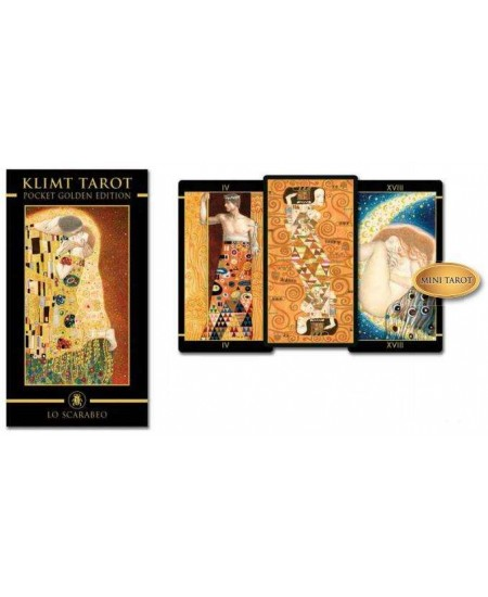 Golden Tarot of Klimt Mini Tarot Deck at Mystic Convergence Metaphysical Supplies, Metaphysical Supplies, Pagan Jewelry, Witchcraft Supply, New Age Spiritual Store
