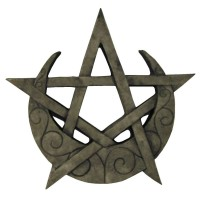Crescent Moon Pentacle Small Wall Plaque