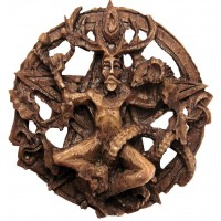 Cernunnos Horned God Celtic Pentacle Round Wall Plaque