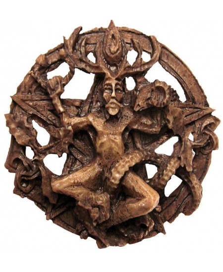 Cernunnos Horned God Celtic Pentacle Round Wall Plaque at Mystic Convergence Metaphysical Supplies, Metaphysical Supplies, Pagan Jewelry, Witchcraft Supply, New Age Spiritual Store