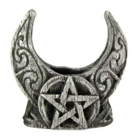 Crescent Moon Pentacle Mini Pewter Candle Holder